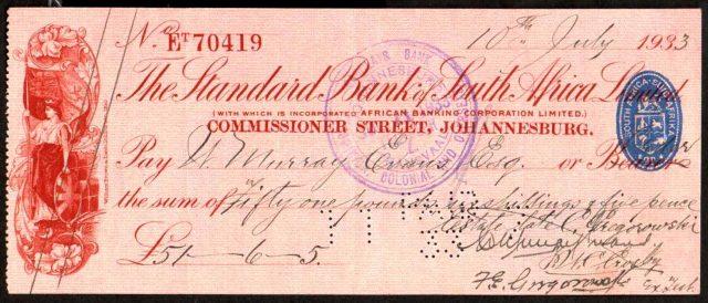 南アフリカ共和国のスタンダード銀行が発行した小切手